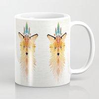 spirit Mugs featuring fox spirit  by Manoou
