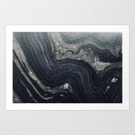 Dark Gray Marble Pattern Art Print
