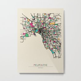 Colorful City Maps: Melbourne, Australia Metal Print