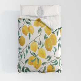 yellow lemon watercolor 2020 Comforters