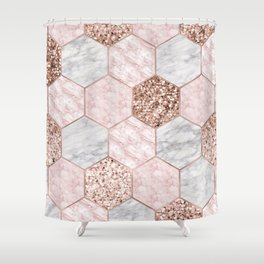 Rose gold dreaming - marble hexagons Shower Curtain