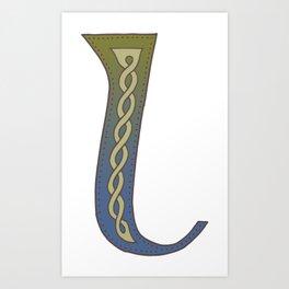 Celtic Knotwork Alphabet - Letter L Art Print