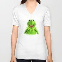 kermit V-neck T-shirts featuring Kermit by KitschyPopShop