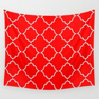 moroccan Wall Tapestries featuring Moroccan Red by Jenna Mhairi