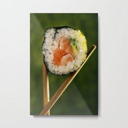 Salmon and Avocado Sushi Roll Metal Print