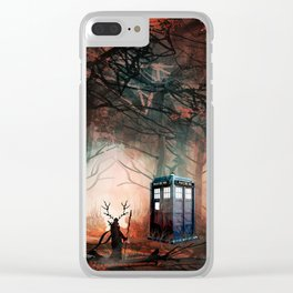 TARDIS IN THE FOREST Clear iPhone Case