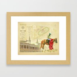 Artistic Kentucky Derby [vintage inspired] Map print Framed Art Print