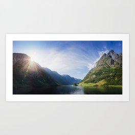 Sunrise over Fjord Village - Wide Panorama Art Print