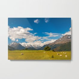 Beautiful Pastoral Alpine Landscape in New Zealand Metal Print