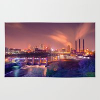 minneapolis Area & Throw Rugs featuring Minneapolis Skyline by MegaCork Photography