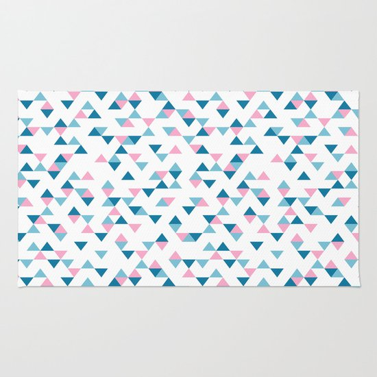 Triangles Blue and Pink Repeat Rug