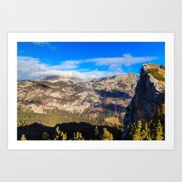 Sunny autumn day at the mount Salinchiet in the italian alps Art Print
