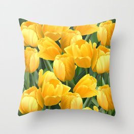 Yellow Tulips Field Throw Pillow