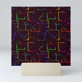 Bright colored carved squares and neon rhombuses for an abstract burgundy background or pattern. Mini Art Print