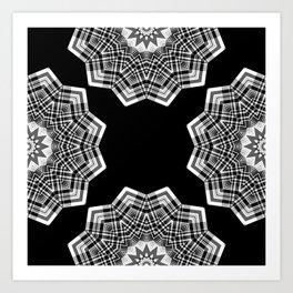 Optical Illusion Plaid Deconstructed Black White Art Print