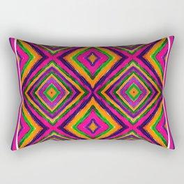 Rainbow Painted God's Eye - Pink Rectangular Pillow