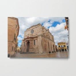 Old Santa Maria Cathedral in Ciutadella - Menorca, Spain Metal Print