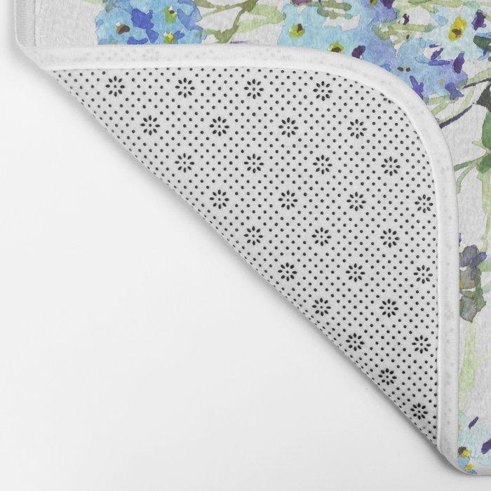Forget-me-not watercolor aquarelle flowers Bath Mat