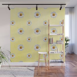 Daisies in love- Yellow Daisy Flower Floral pattern with Ladybug Wall Mural