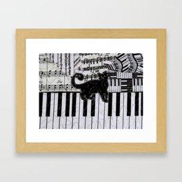Black Cat on a Keyboard Framed Art Print