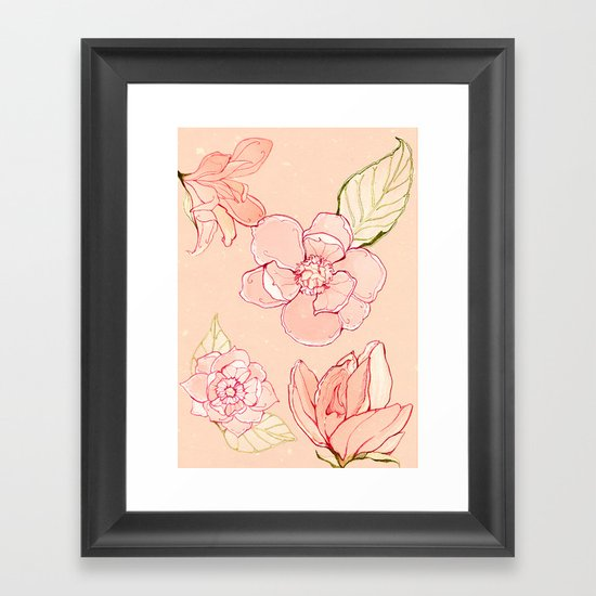 Summer flowers warm Framed Art Print