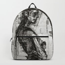 Waiting - Charcoal on Newspaper Figure Drawing Backpack