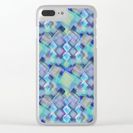Tropical dream (Square Pastel  Blue Pattern) Clear iPhone Case