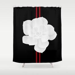 White Succulent On Black #decor #society6 #buyart Shower Curtain