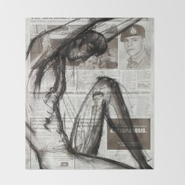 Fire Arms - Charcoal on Newspaper Figure Drawing Throw Blanket