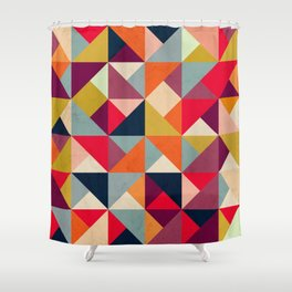 Bright Geometric Happy Pattern Shower Curtain
