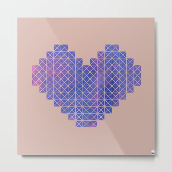 Heart X Purple Metal Print