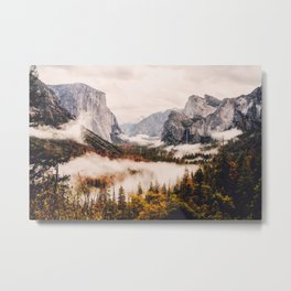 Amazing Yosemite California Forest Waterfall Canyon Metal Print