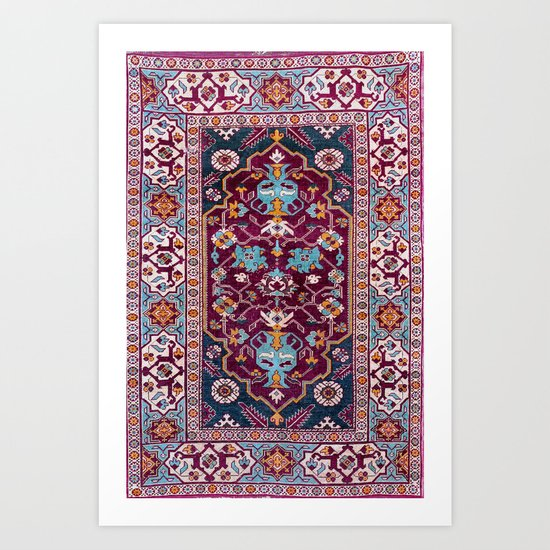 Romanian  Antique  Double Niche Carpet Print by vickybragomitchell