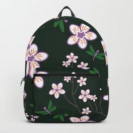 Cherry Blossom Season Purple Flowers on Green Background Backpack