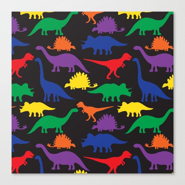 Dinosaurs - Black Canvas Print