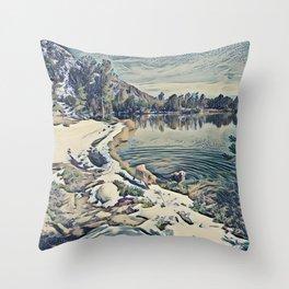 Mountain Lake Trail, California Throw Pillow