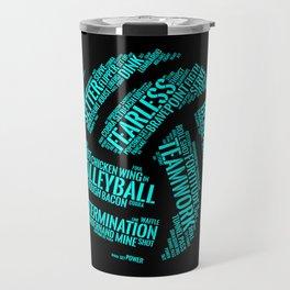 Turquoise Volleyball Wordcloud - Gift Travel Mug