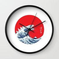 kaiju Wall Clocks featuring Hokusai kaiju by Marco Mottura - Mdk7