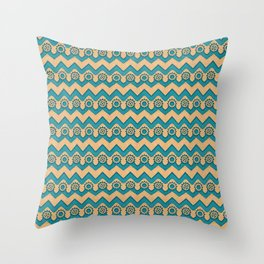 Chevrons and Sprockets - Blue-Green and Gold Repeating Pattern Throw Pillow