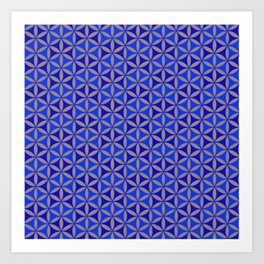 Flower of Life Blue Pattern Art Print
