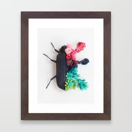 Beetle and Flowers, Surrealistic Art Framed Art Print