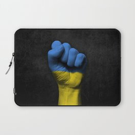 Ukrainian Flag on a Raised Clenched Fist Laptop Sleeve