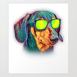Dachshund Colorful Neon Wiener Dog Sunglasses Art Print