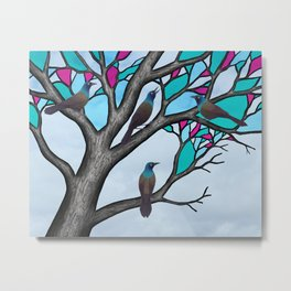 grackles in the stained glass tree Metal Print