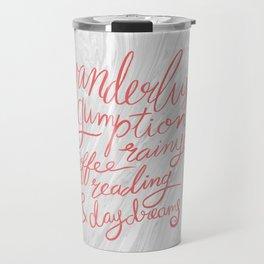 Wanderlust Words - Pink on Marble Travel Mug