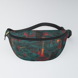 Night city glow cartoon Fanny Pack