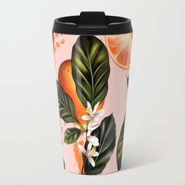 Citrus paradise. Tropical pattern with oranges Travel Mug