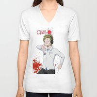 pewdiepie V-neck T-shirts featuring Pewdiepie: Corpse Party by SofusGirl