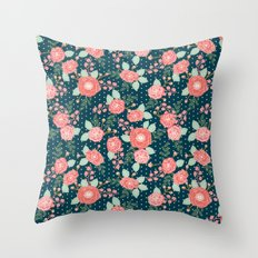 Florals boho modern watercolor blooming blossom garden nature summer spring navy pink white Throw Pillow