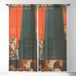 Soviet Propaganda Poster - There is No Industry without Heavy Industry (1930) Blackout Curtain